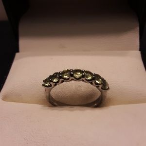 1.00ctw Genuine Peridot 316L Stainless Steel Band